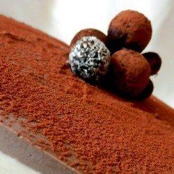 Raw čokoládovo-kokosová torta s čučoriedkami