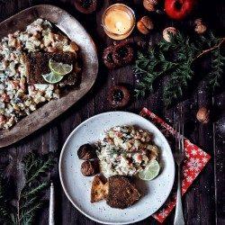 Vianočný tofu kapor so zemiakovým šalátom