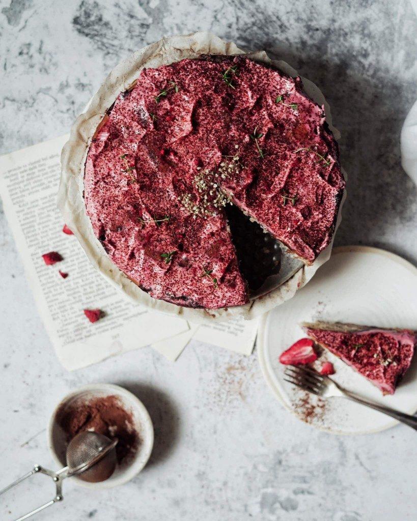 vegan pudingový koláč torta