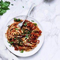 Vegan boloňské cestoviny so šošovicou