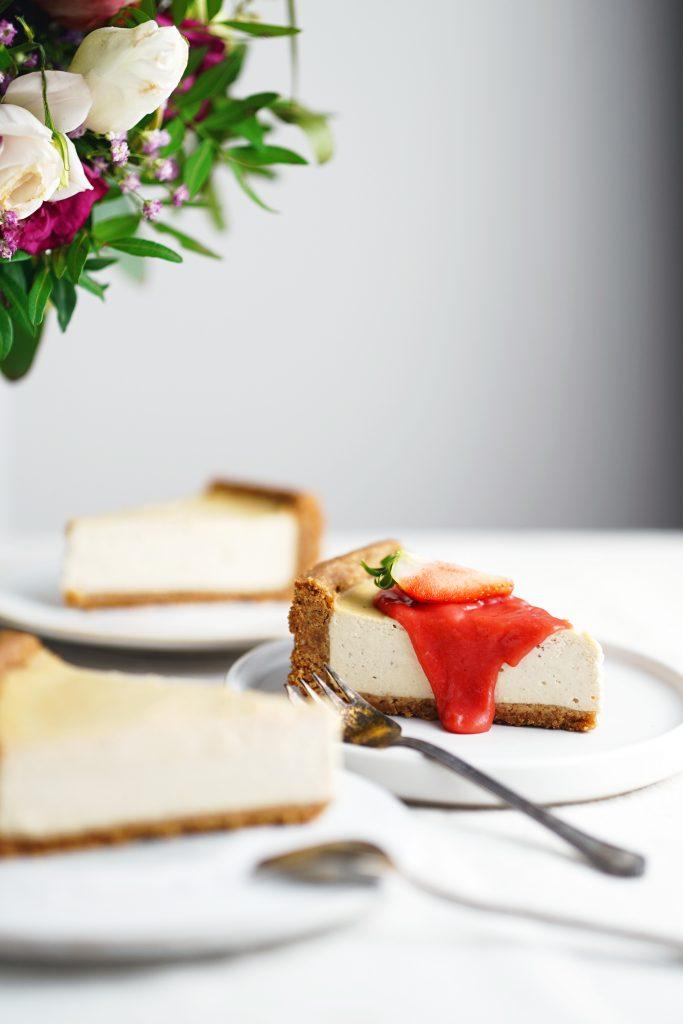 vegan tvarohový cheesacake bez orieškov bez kešu